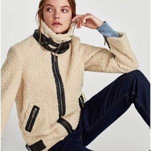 Zara Woman Teddy Faux Shearling Moto Jacket